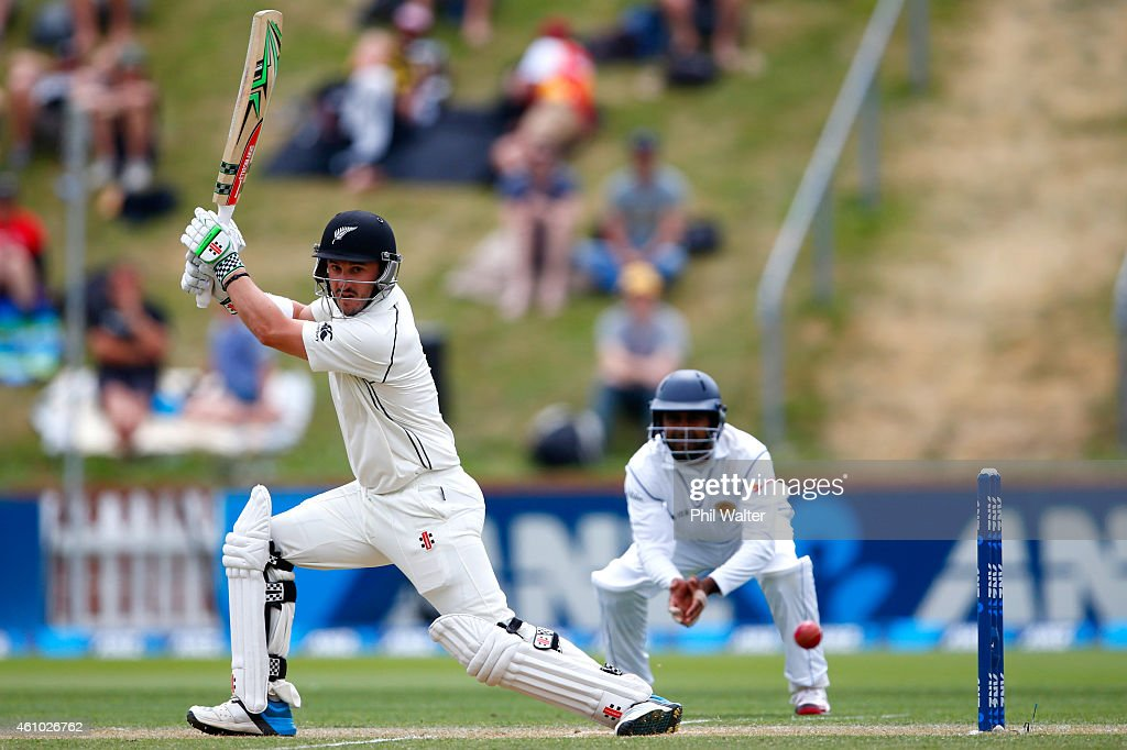 <a gi-track='captionPersonalityLinkClicked' href=/galleries/search?phrase=Hamish+Rutherford&family=editorial&specificpeople=4880824 ng-click='$event.stopPropagation()'>Hamish Rutherford</a> of New Zealand bats during day three of the Second Test match between New Zealand and Sri Lanka at the Basin Reserve on January 5, 2015 in Wellington, New Zealand.