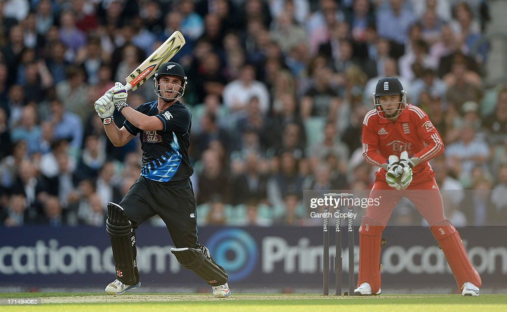 Hamish Rutherford of New Zealand bats during the 1st NatWest International T20 match between England and New Zealand at The Kia Oval on June 25 2013...