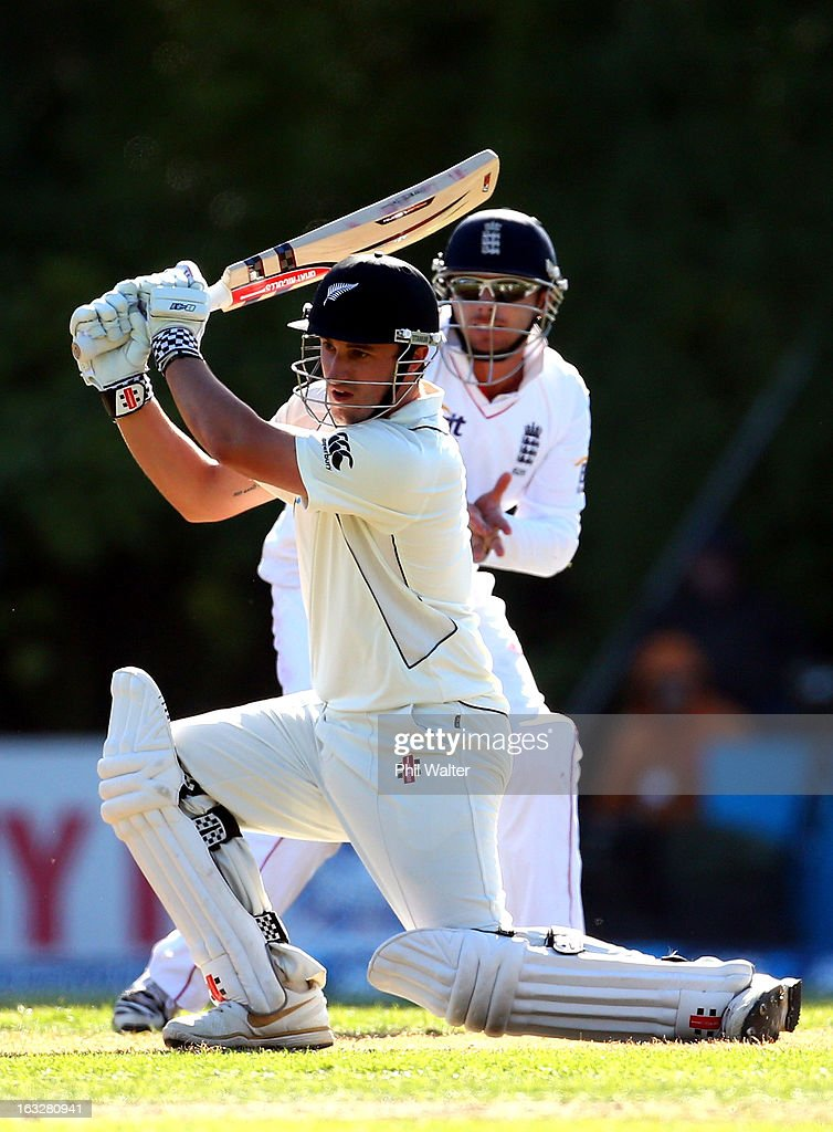 Hamish Rutherford of New Zealand bats on day two of the First Test match between New Zealand and England at University Oval on March 7, 2013 in Dunedin, New Zealand.