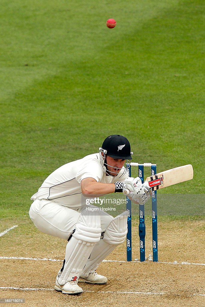 Hamish Rutherford of New Zealand ducks under a bouncer during day two of the second Test match between New Zealand and England at Basin Reserve on March 15, 2013 in Wellington, New Zealand.