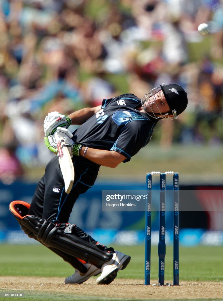 Hamish Rutherford of New Zealand ducks under a bouncer during the second match of the international Twenty20 series between New Zealand and England at McLean Park on February 20, 2013 in Napier, New Zealand.
