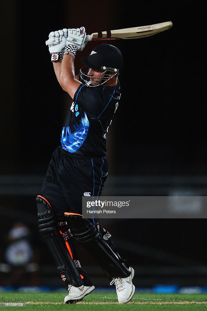 Hamish Rutherford of New Zealand hits the ball away for four runs during the 1st T20 International between New Zealand and England at Eden Park on February 9, 2013 in Auckland, New Zealand.