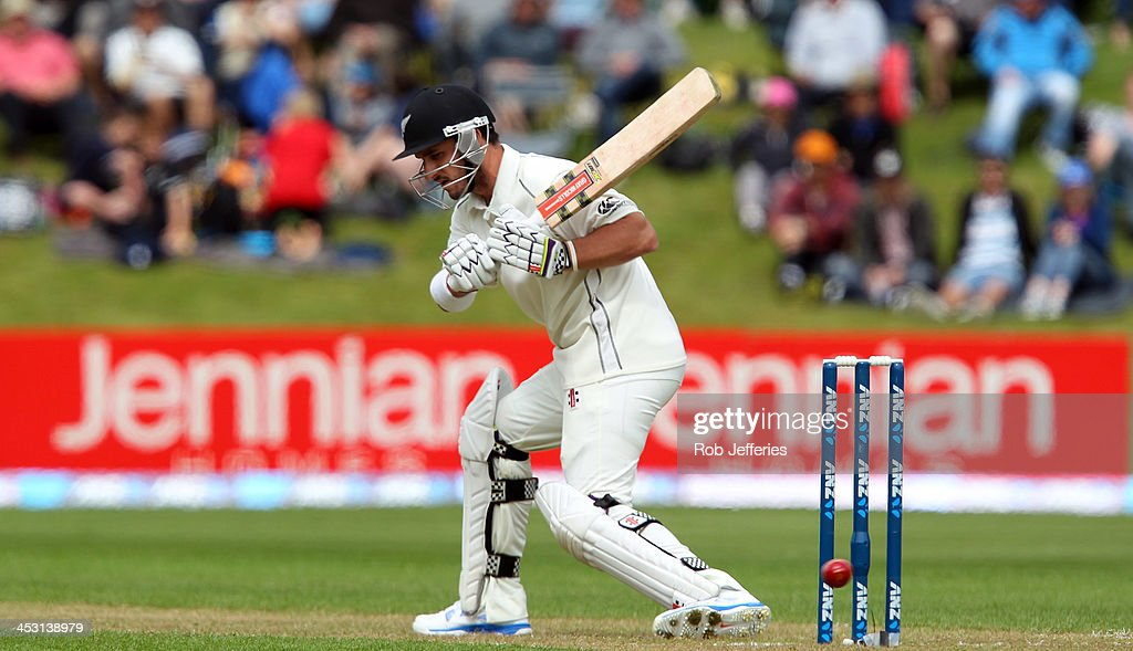Hamish Rutherford of New Zealand leaves a delivery during day one of the first test match between New Zealand and the West Indies at University Oval...