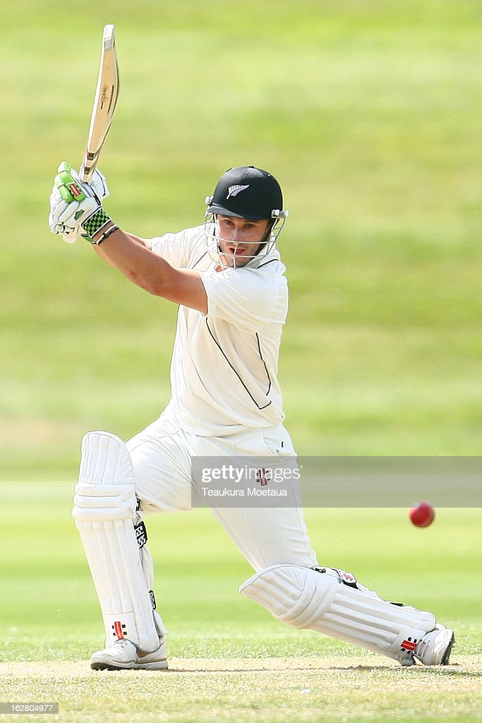 Hamish Rutherford of New Zealand XI hits to the offside during day two of the International tour match between the New Zealand XI and England at Queenstown Events Centre on February 28, 2013 in Queenstown, New Zealand.