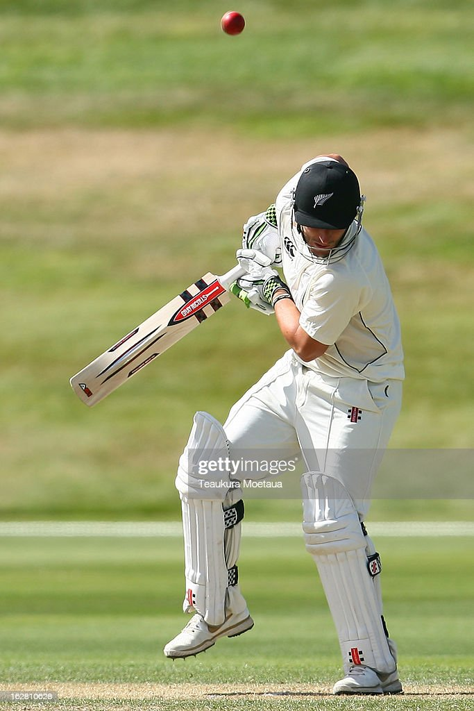 Hamish Rutherford of New Zealand XI is hit with the ball during day two of the International tour match between the New Zealand XI and England at Queenstown Events Centre on February 28, 2013 in Queenstown, New Zealand.