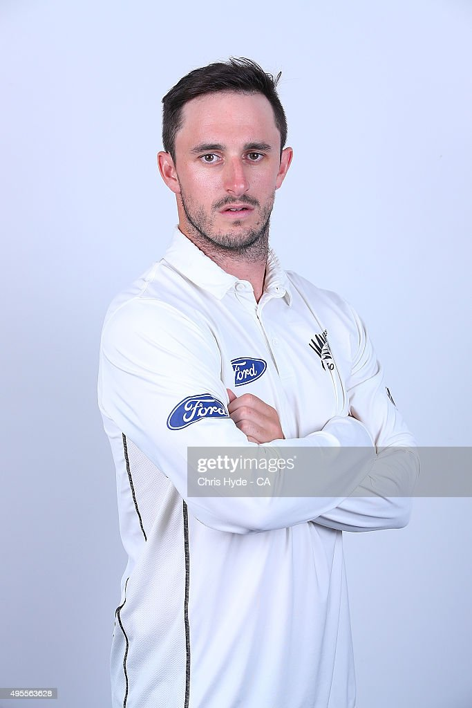 Hamish Rutherford poses during a New Zealand Black Caps headshots session at The Gabba on November 4 2015 in Brisbane Australia