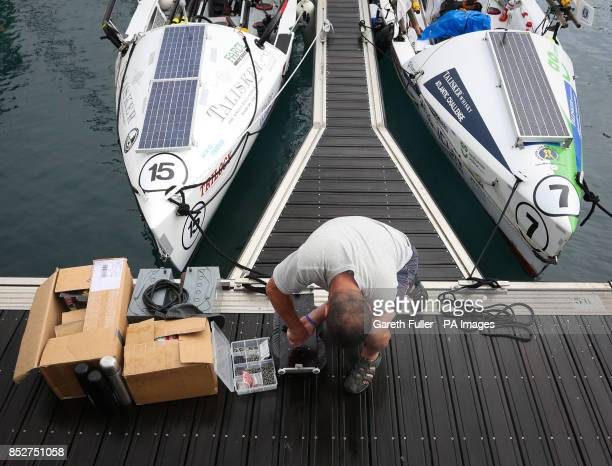 Hamish Stewart part of a three man Atlantic trio prepares his boat in Port San Sebastian Canary Islands ahead of the start of the Talisker Whiskey...