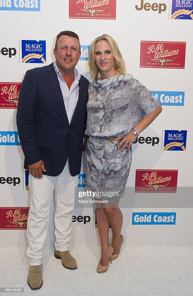 Hamish Turner (CEO of RM Williams) and Zara Phillips during the Magic Millions Opening Night cocktail party at Surfers Paradise on January 8, 2013 in Surfers Paradise, Australia.
