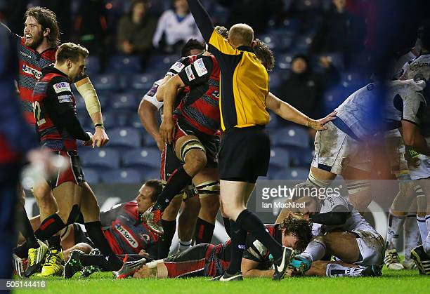 Hamish Watson of Edinburgh Rugby scores his teams fourth try during the European Rugby Challenge Cup match between Edinburgh Rugby and Agen at...