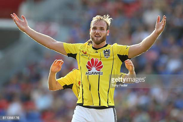 Hamish Watson of the Phoenix celebrates a goal during the round 20 ALeague match between the Newcastle Jets and Wellington Phoenix at Hunter Stadium...