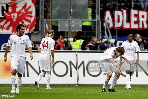 Hamit Altintop Anatoliy Tymoshchuk Holger Badstuber and David Alaba of Muenchen react after Frankfurt's first goal during the Bundesliga match...