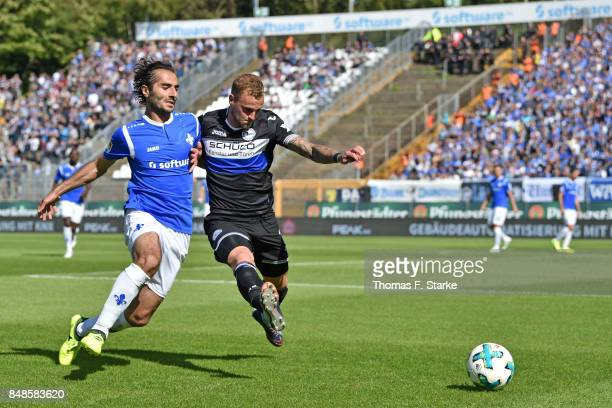 Hamit Altintop of Darmstadt and Christoph Hemlein of Bielefeld fight for the ball during the Second Bundesliga match between SV Darmstadt 98 and DSC...