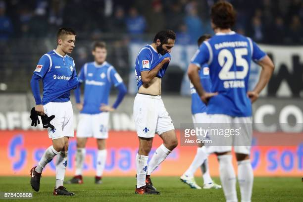 Hamit Altintop of Darmstadt and team mates react after the Second Bundesliga match between SV Darmstadt 98 and SV Sandhausen at JonathanHeimesStadion...