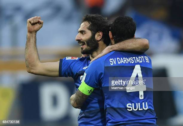 Hamit Altintop of Darmstadt celebrates with his teammate Aytac Sulu of Darmstadt during the Bundesliga match between SV Darmstadt 98 and Borussia...