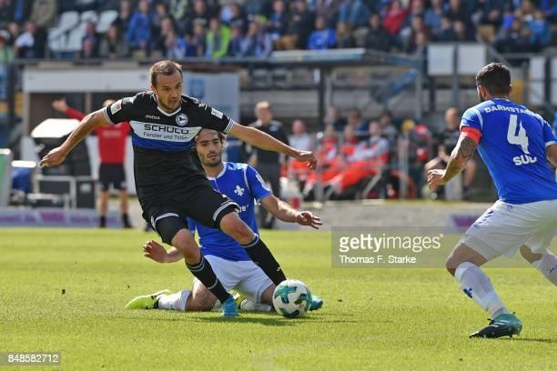 Hamit Altintop of Darmstadt tackles Manuel Prietl of Bielefeld during the Second Bundesliga match between SV Darmstadt 98 and DSC Arminia Bielefeld...