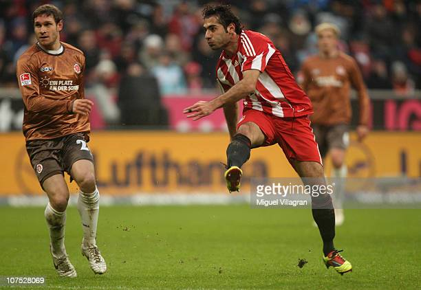 Hamit Altintop of FC Bayern Muenchen scores his side's first goal during the Bundesliga match between FC Bayern Muenchen and FC St Pauli at Allianz...