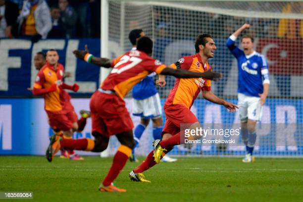Hamit Altintop of Galatasaray celebrates after scoring his team's first goal during the UEFA Champions League round of 16 second leg match between...