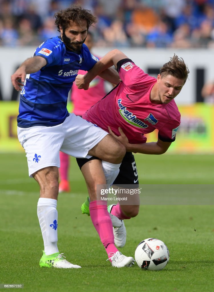 Hamit Altintop of SV Darmstadt 98 and Niklas Stark of Hertha BSC during the game between SV Darmstadt 98 and Hertha BSC on may 13, 2017 in Darmstadt, Germany.
