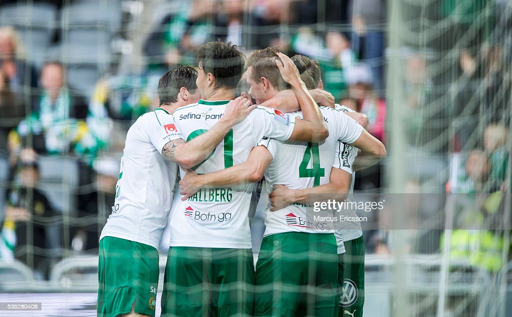 Hammarby IF celebrates after scoring 2-0 during the Allsvenskan match between Hammarby IF and Gefle IF at Tele2 Arena on May 29, 2016 in Stockholm, Sweden.