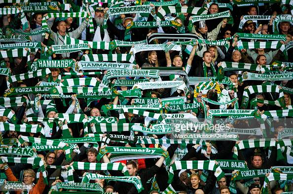 Hammarby IF hits new AllTime high audience record during the Allsvenskan match between Hammarby IF and Malmo FF at Tele2 Arena on October 25 2015 in...