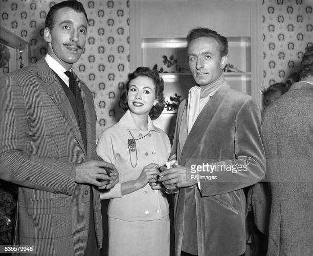 Hammer film stars Christopher Lee Hazel Court and Anton Diffring at the Hammer Films Christmas Party
