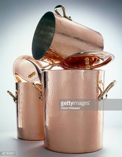 Hammered copper cooking stock pots
