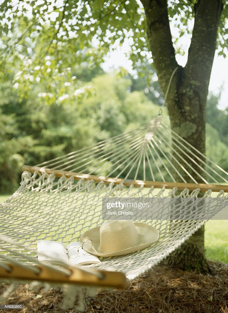 Hammock, Book, Hat, and Glasses : Stock Photo