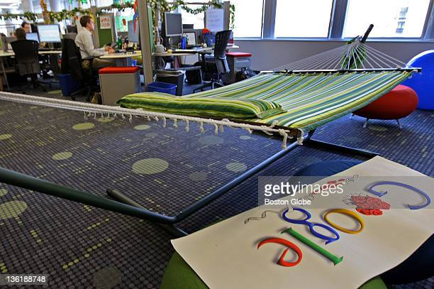 A hammock is ready in the office for those on a break shown by Google executives who gave a tour of the company's new Kendall Square offices