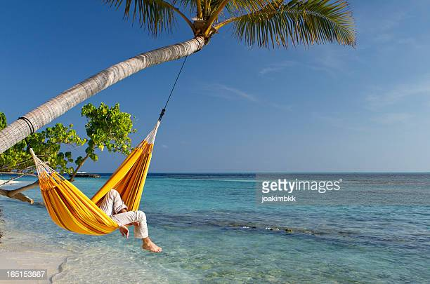 Hammock relaxation by the sea