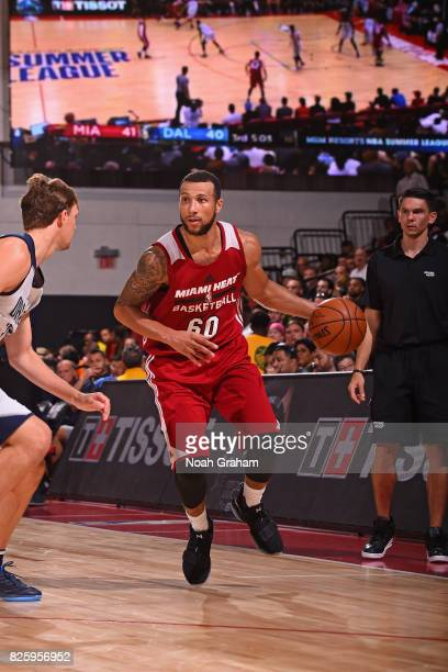 Hammons of the Miami Heat dribbles the ball during the 2017 Las Vegas Summer League game against the Dallas Mavericks on July 11 2017 at Cox...