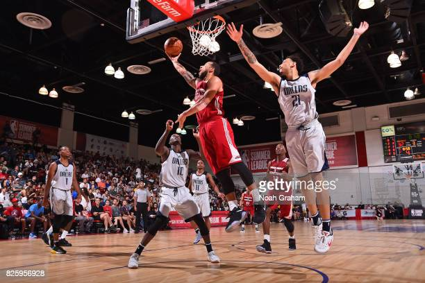 Hammons of the Miami Heat drives to the basket during the 2017 Las Vegas Summer League game against the Dallas Mavericks on July 11 2017 at Cox...