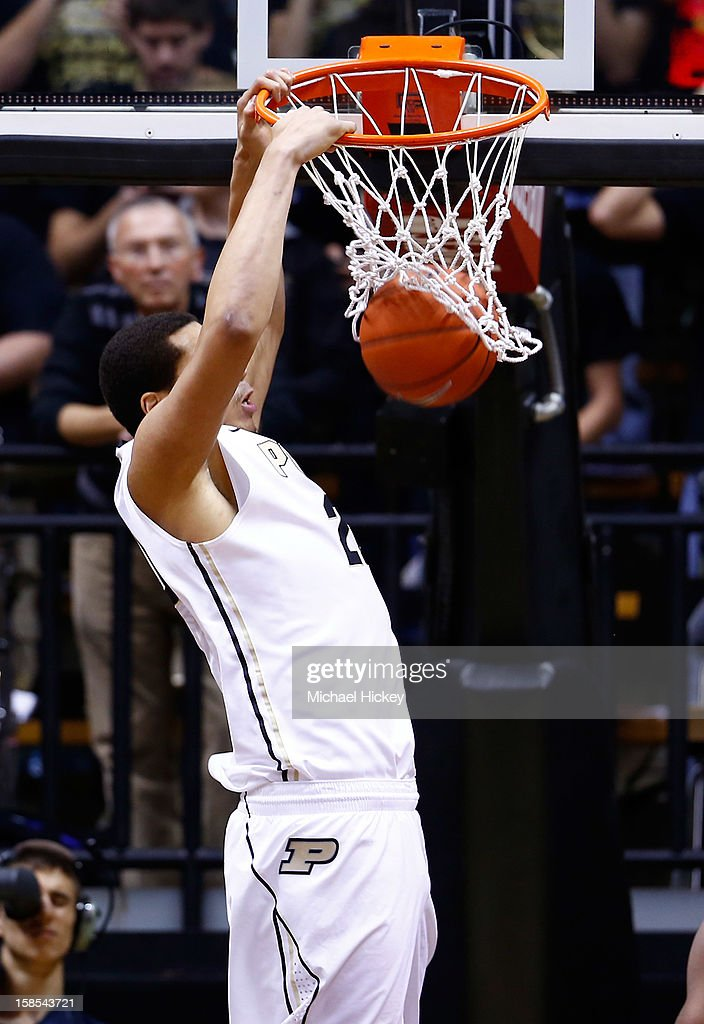 A.J. Hammons #20 of the Purdue Boilermakers dunks the ball against the Ball State Cardinals at Mackey Arena on December 18, 2012 in West Lafayette, Indiana. Purdue defeated Ball State 66-56.