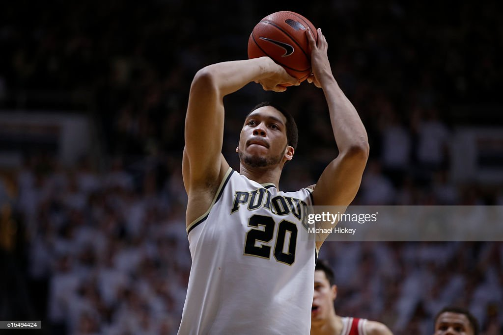 <a gi-track='captionPersonalityLinkClicked' href=/galleries/search?phrase=A.J.+Hammons&family=editorial&specificpeople=9966213 ng-click='$event.stopPropagation()'>A.J. Hammons</a> #20 of the Purdue Boilermakers shoots a free throw during the game against the Wisconsin Badgers at Mackey Arena on March 6, 2016 in West Lafayette, Indiana.