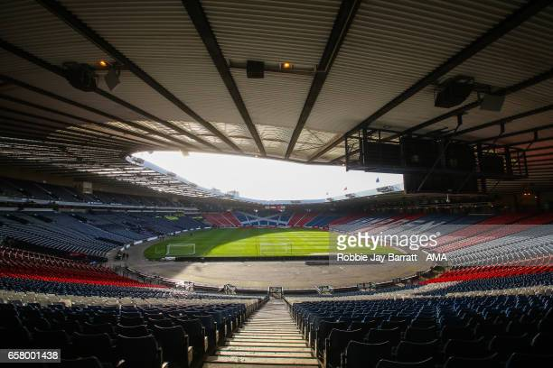 Hampdem Park home stadium of Scotland prior to the FIFA 2018 World Cup Qualifier between Scotland and Slovenia at Hampden Park on March 26 2017 in...