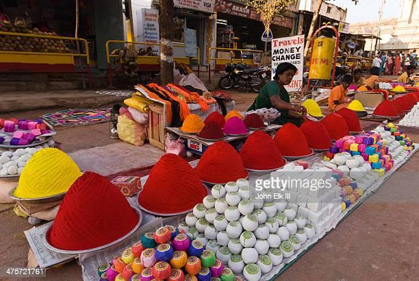Hampi Bazaar, colored powder vendors