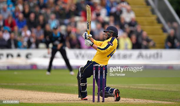 Hampshire batsman James Vince picks up some runs during the NatWest T20 Blast quarter final match between Worcestershire and Hampshire at New Road on...