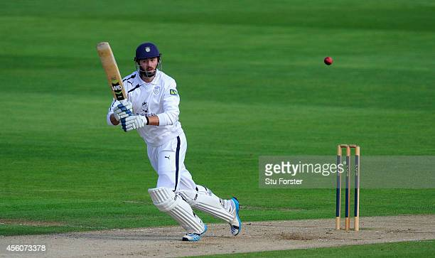 Hampshire batsman James Vince scores some quick runs during day three of the LV County Championship Division Two match between Glamorgan and...