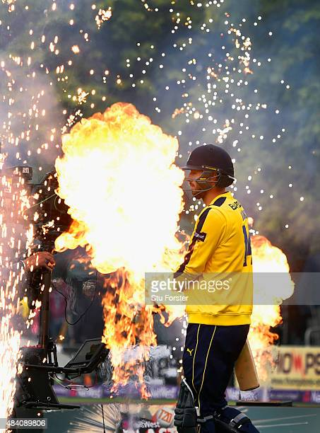 Hampshire batsman James Vince walks ou to bat before the NatWest T20 Blast quarter final match between Worcestershire and Hampshire at New Road on...