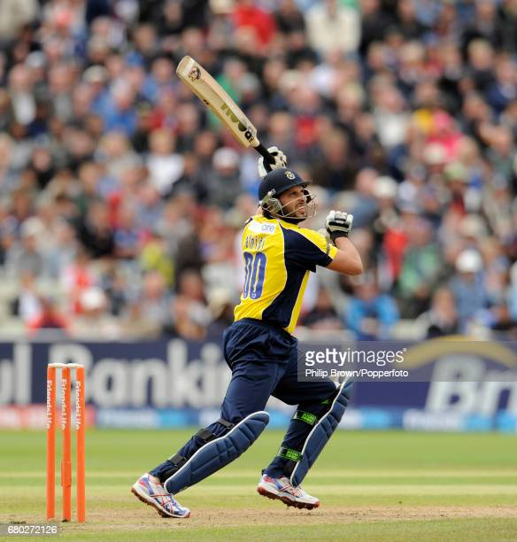 Hampshire batsman Shahid Afridi hits a six during the second Twenty20 semi final against Somerset at Edgbaston on the 27th of August 2011