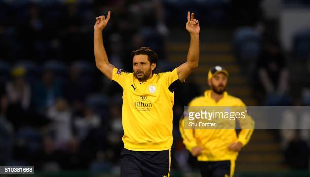 Hampshire bower Shahid Afridi celebrates his fourth wicket that of Chris Cooke during the NatWest T20 Blast match between Glamorgan and Hampshire at...