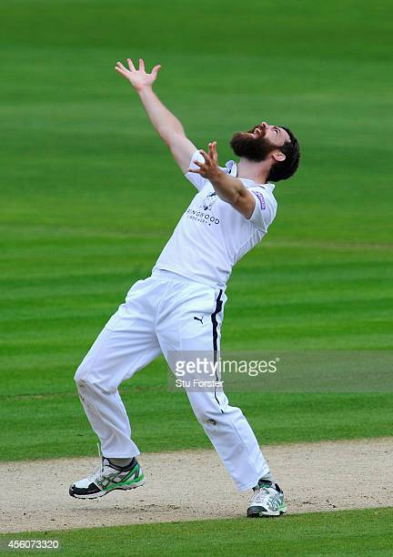 Hampshire bowler James Tomlinson celebrates after dismissing Jacques Rudolph during day three of the LV County Championship Division Two match...