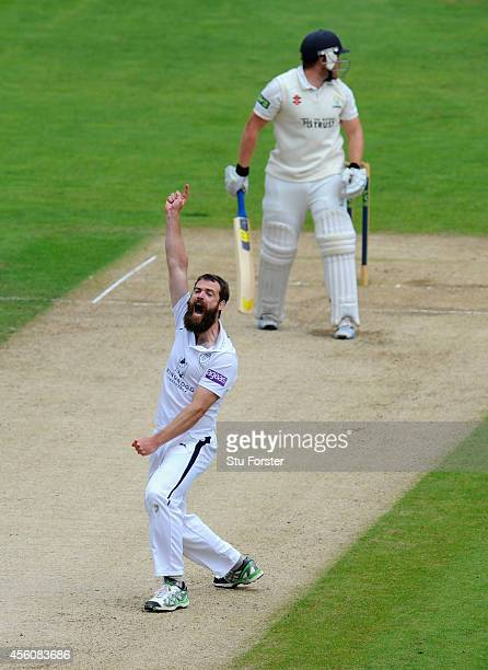 Hampshire bowler James Tomlinson celebrates after dismissing William Bragg during day three of the LV County Championship Division Two match between...