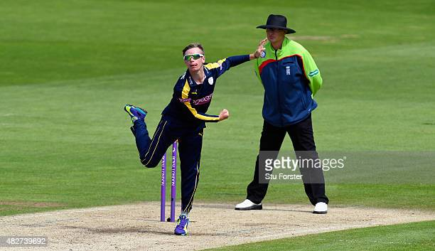 Hampshire bowler Mason Crane in action during the Royal London OneDay Cup match between Glamorgan and Hampshire at SWALEC Stadium on August 2 2015 in...