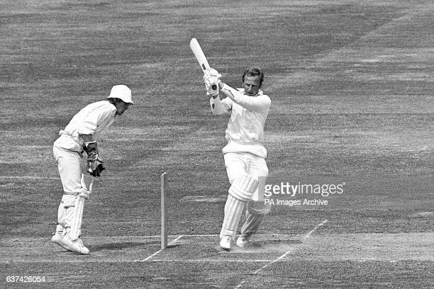 Hampshire captain and top scorer Richard Gilliat hooks a ball from Middlesex's Phil Edmonds for four watched by Middlesex wicketkeeper Ian Gould