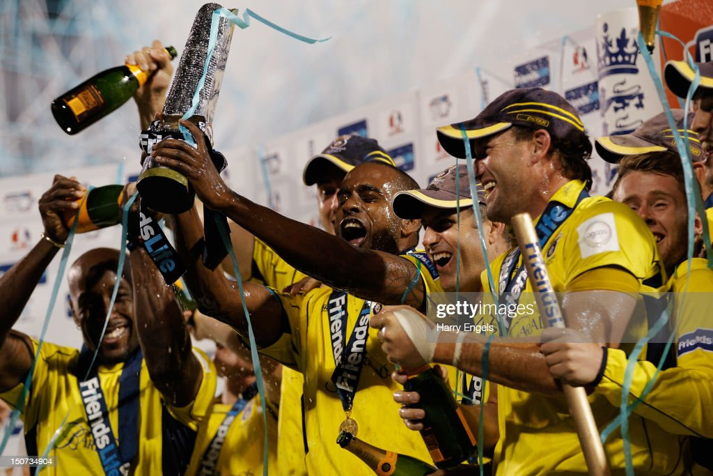 Hampshire captain <a gi-track='captionPersonalityLinkClicked' href=/galleries/search?phrase=Dimitri+Mascarenhas&family=editorial&specificpeople=579066 ng-click='$event.stopPropagation()'>Dimitri Mascarenhas</a> lifts the trophy after Hampshire won the Friends Life T20 Final between Hampshire and Yorkshire at the SWALEC Stadium on August 25, 2012 in Cardiff, Wales.
