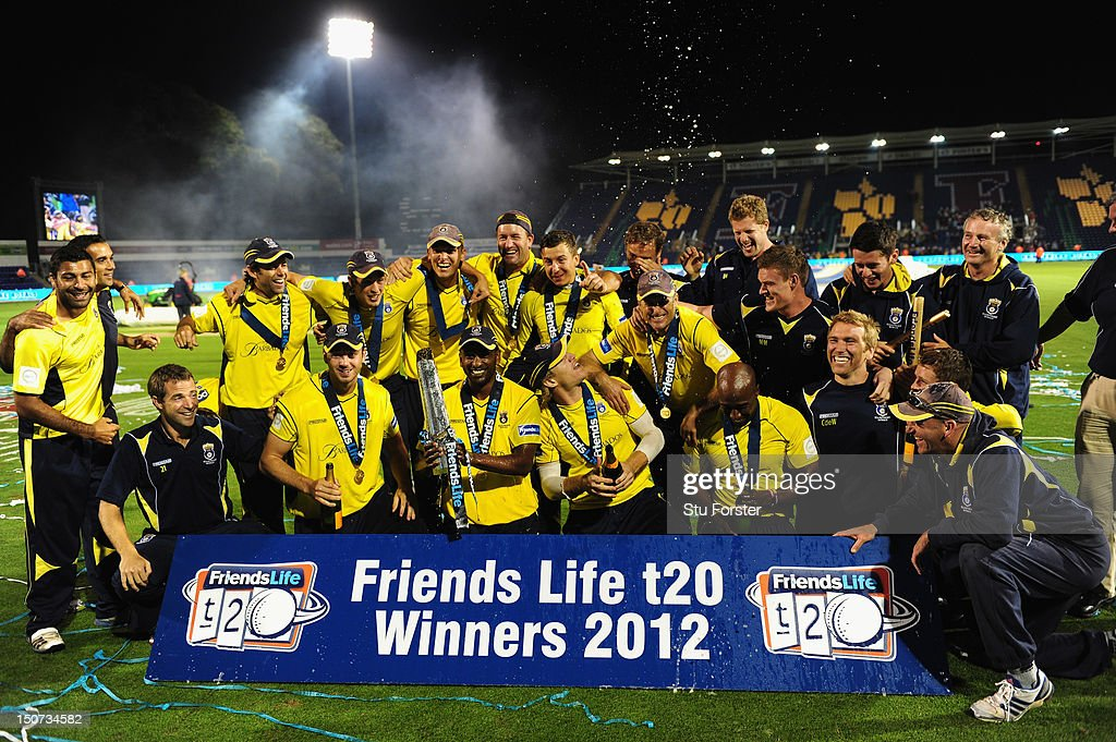 Hampshire captain Dimitri Mascarenhas (c) lifts the trophy and celebrates with his team mates after the final of the Friends Life T20 between Hampshire and Yorkshire at SWALEC Stadium on August 25, 2012 in Cardiff, Wales.