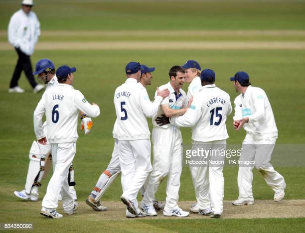 Hampshire celebrate the wicket of Sussex batsman Chris Nash during the LV County Championship Division One match at The Rose Bowl Southampton