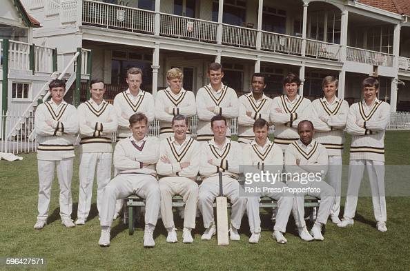 Hampshire County Cricket Club team pictured in front of the main stand and club house at the County Ground in Southampton England on 19th April 1968...