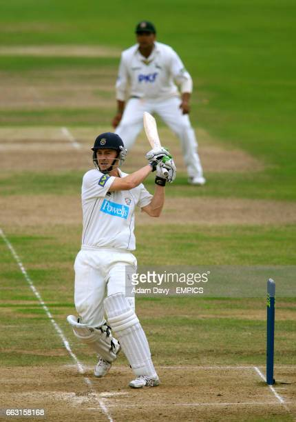 Hampshire Michael Brown hits four runs off Nottinghamshire's Charlie Shreck