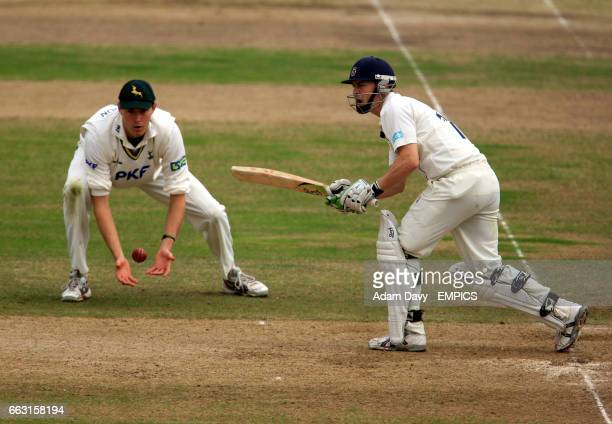 Hampshire Michael Brown hits the ball off Nottinghamshire's Charlie Shreck